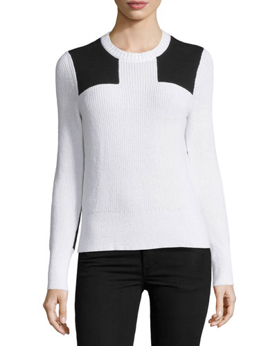 Gaia Two-Tone Ribbed Pullover, White