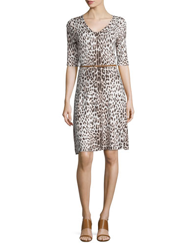 Leopard Fit-and-Flare Dress W/Belt, Beige Combo