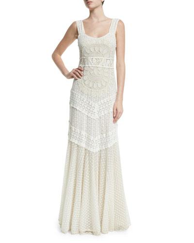 Kimberly Sleeveless Embroidered Maxi Dress, Cream