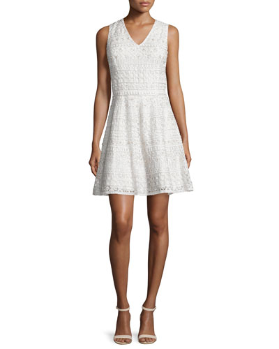 Reba Sleeveless Embroidered A-Line Dress, Cream