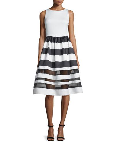 Sleeveless Larue Striped Combo Dress, Black/White