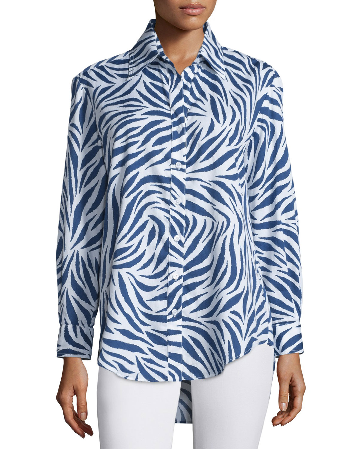 Monica Zebra-Print Sateen Blouse, Royal/White