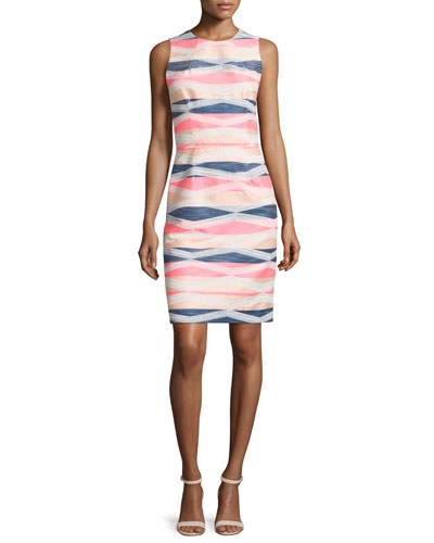 Sleeveless Striped Sheath Dress, Multi Colors