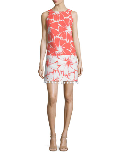 Sleeveless Colorblock Floral-Print Dress, Coral