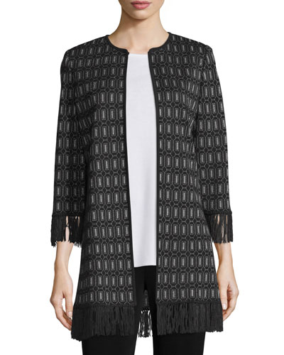3/4-Sleeve Lace Jacket W/ Fringe Trim, Plus Size