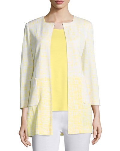 3/4-Sleeve Long Ombre Printed Jacket, Daisy/White