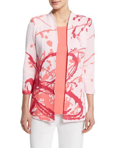 Paint Splatter 3/4-Sleeve Jacket, Plus Size