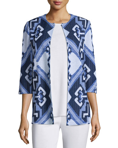 3/4-Sleeve Aztec Pattern Jacket, Plus Size