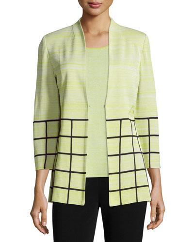 3/4-Sleeve Melange Jacket W/ Grid Border, Plus Size
