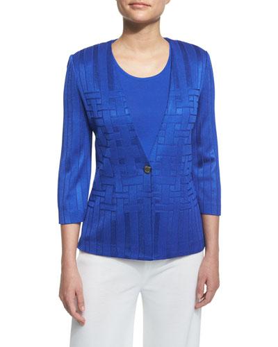 3/4-Sleeve Woven-Pattern Jacket, True Blue, Plus Size