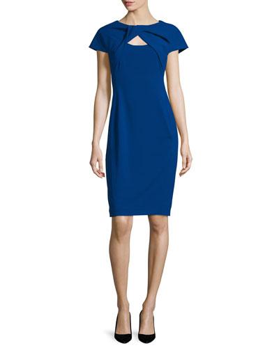Cap-Sleeve Twist-Front Dress, Cobalt