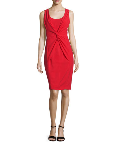 Sleeveless Twist-Front Dress, Red