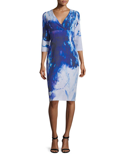 3/4-Sleeve Printed Sheath Dress, Blue Print