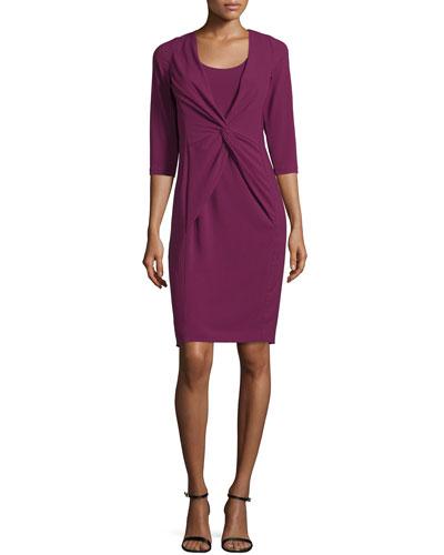 3/4-Sleeve Twist-Front Dress, Purple