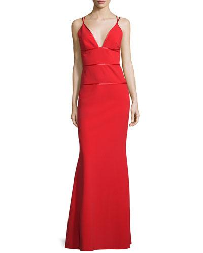 Sleeveless V-Neck Column Gown, Poppy
