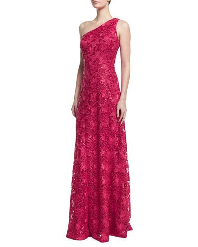 One-Shoulder Lace A-line Gown