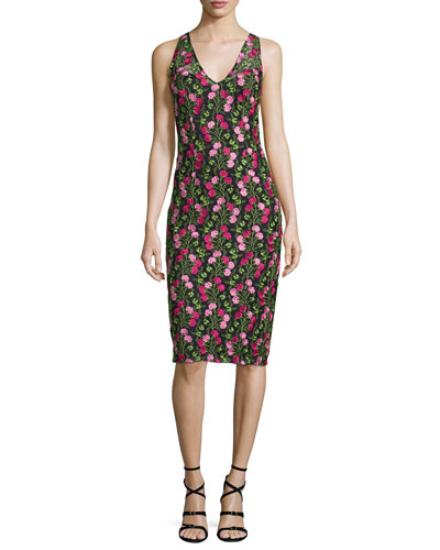 Sleeveless Floral Embroidered Dress