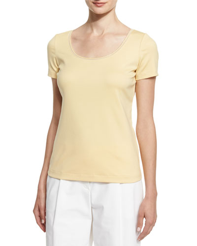 Scoop-Neck Jersey Top W/Chain Detail, Citronella
