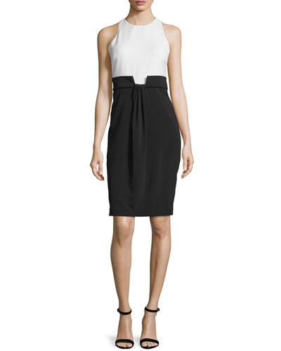 Sleeveless Draped-Front Colorblock Dress, Navy/Ivory