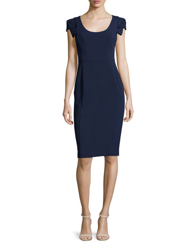 Folded-Short-Sleeve Sheath Dress