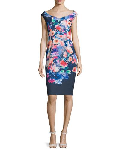 Cap-Sleeve Floral-Print Sheath Dress, Wishing Well
