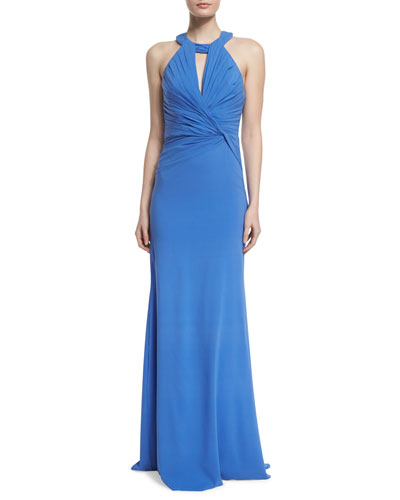 Sleeveless Keyhole Ruched-Bodice Gown