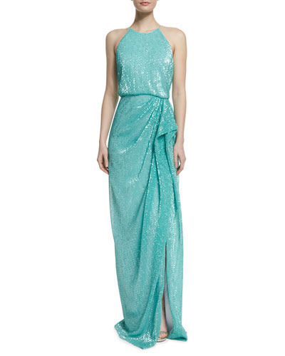 Sleeveless Draped Sequined Column Gown