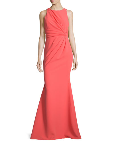 Sleeveless Gathered-Waist Gown, Coral