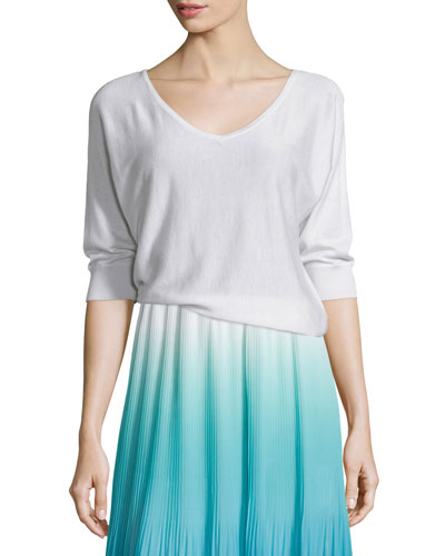 V-Neck Dolman Sweater, White