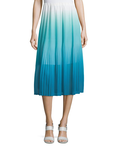 Ombre Pleated Tea-Length Skirt