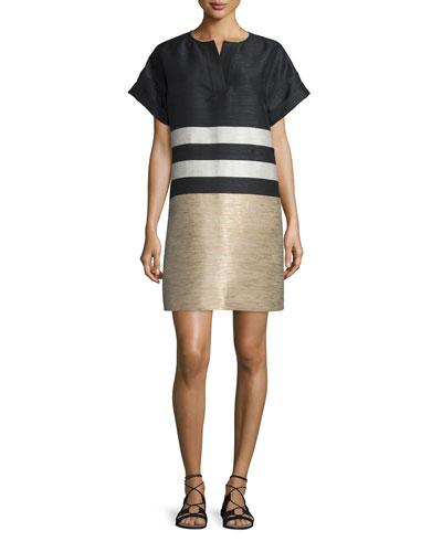Nazeen Colorblock Shift Dress, Black/Multi