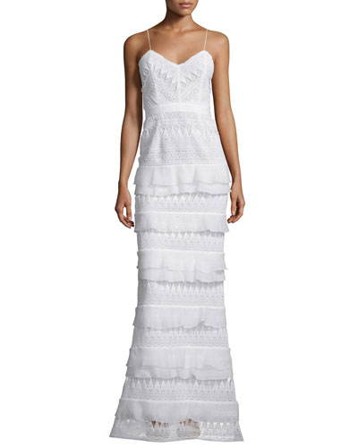 Penelope Sleeveless Tiered Lace Gown, White
