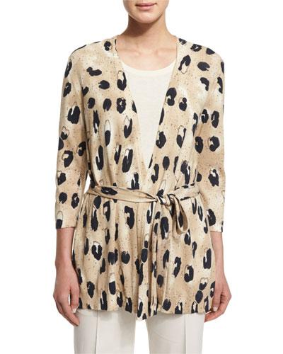 Leopard-Print Cardigan W/ Georgette Back