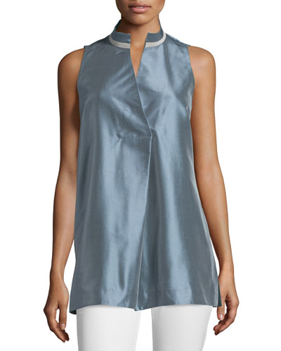 Eloise Sleeveless Tunic Blouse, Blue Dusk