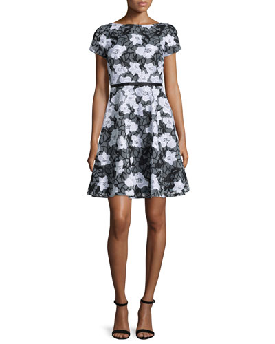 Short-Sleeve Floral Organza Flare Cocktail Dress