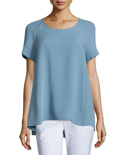 Kate Short-Sleeve Silk Blouse, Portofino