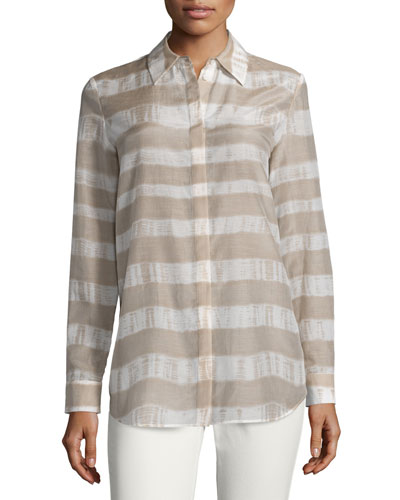 Brody Long-Sleeve Striped Blouse