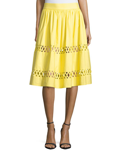Morina Lattice-Trim A-Line Skirt, Yellow