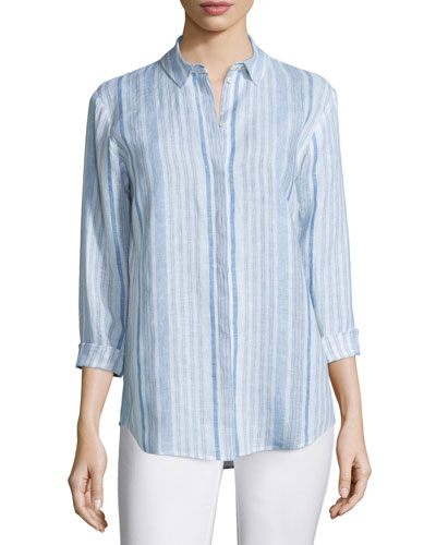 Sabira Long-Sleeve Striped Linen Blouse, Cerulean Blue Multi