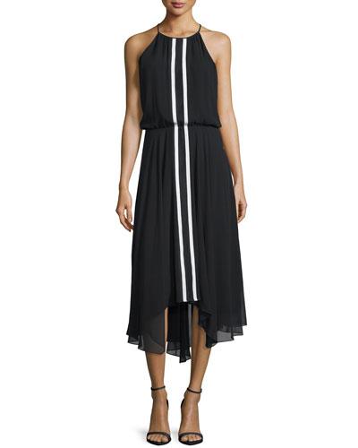 Macedonia Sleeveless Midi Dress, Black