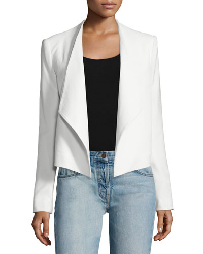Claude Open-Front Shawl-Collar Blazer, White