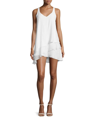 Eve Sleeveless Layered A-Line Dress, White
