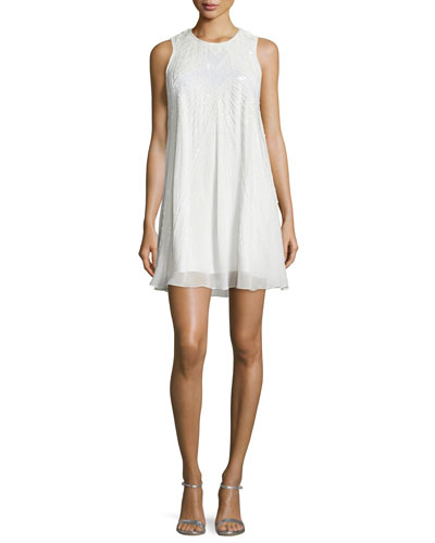 Peony Sleeveless Embellished Dress, White