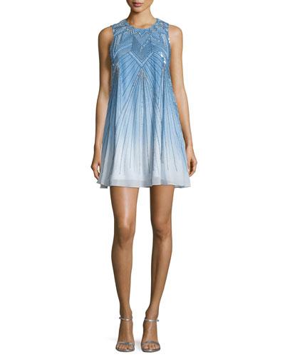 Peony Sleeveless Embellished Ombre Dress, Blue