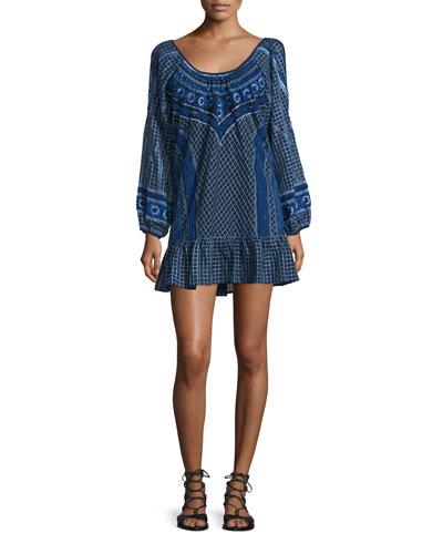 Woodstock Embellished Mini Flounce Dress, Blue Pattern