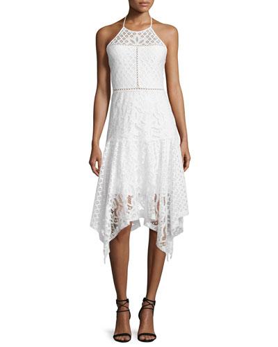 Talum Sleeveless Lace-Overlay Dress, White