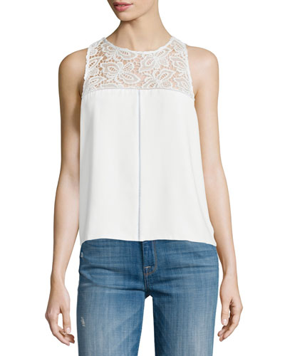 Bart Lace-Inset Sleeveless Top, Pearl