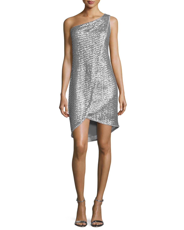 One-Shoulder Embellished Faux-Wrap Dress, Vapor/Silver