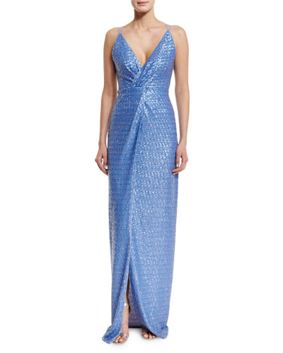 Sleeveless Twist-Front Sequined Gown, Lavender