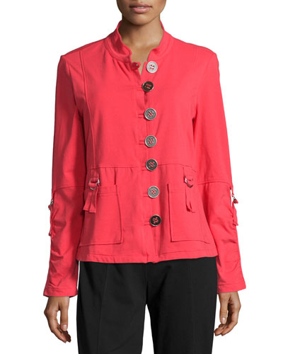 Eternity D-Ring Button-Front Blazer, Cosmic Coral